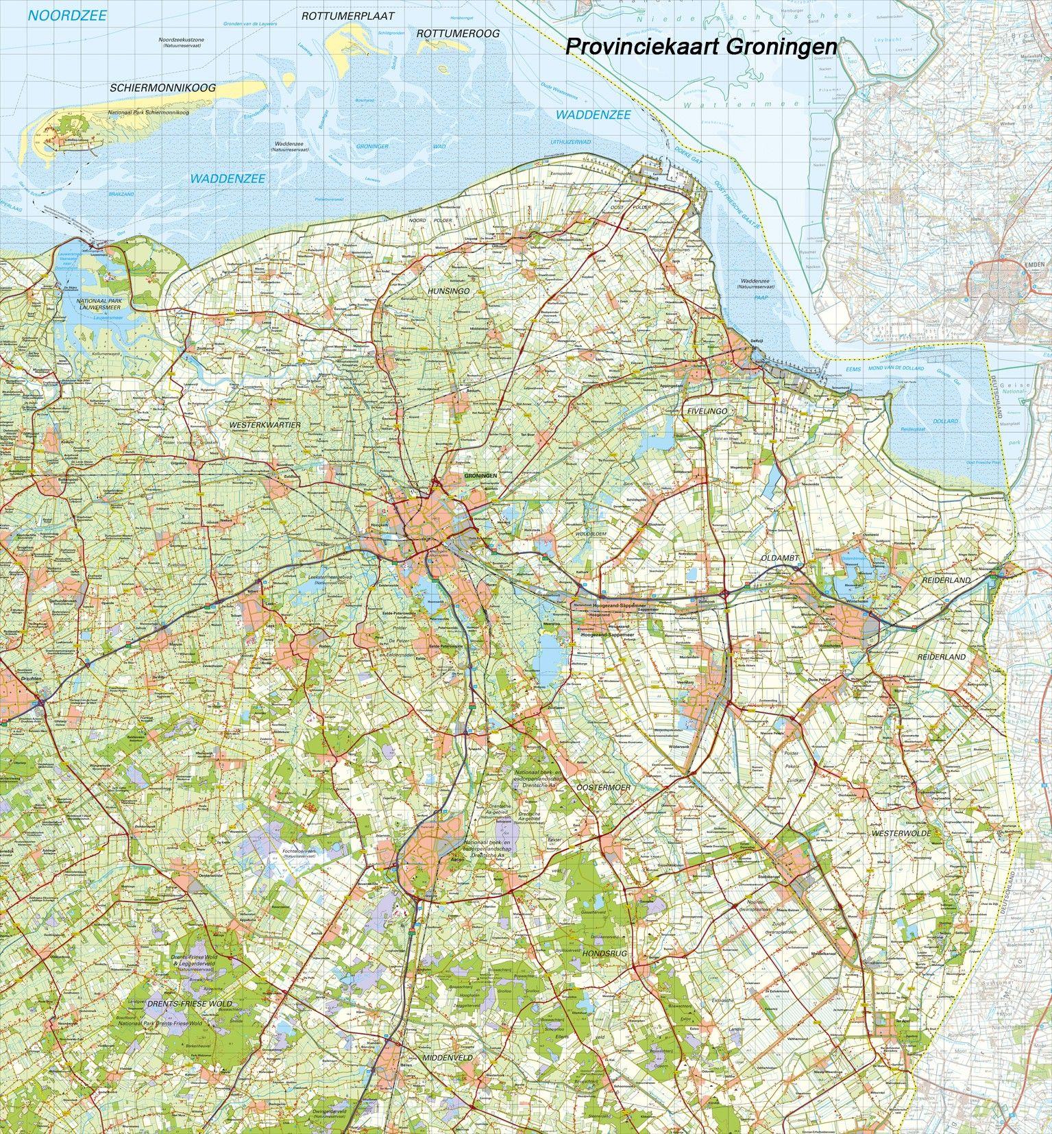 Topografische Provincie kaart Groningen 1:100.000