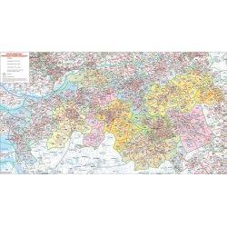 Postcodekaart Brabant 1:100.000