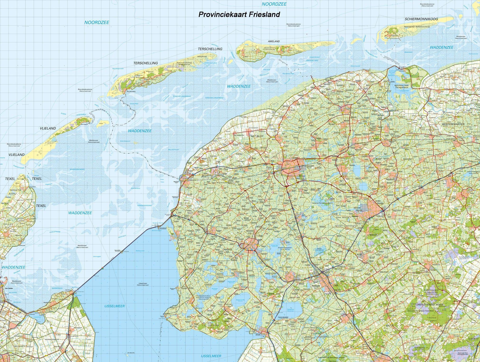 Digitale Provinciekaart Friesland 1:100.000