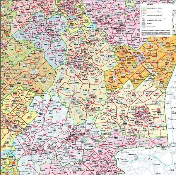 Postcodekaart Drenthe 1:100.000