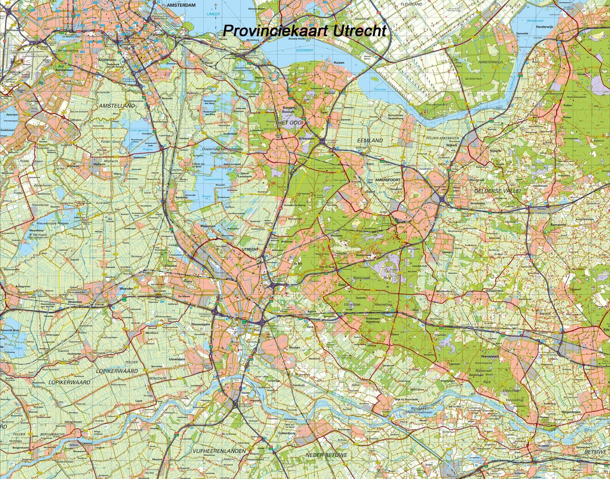Digitale Provinciekaart Utrecht 1:100.000