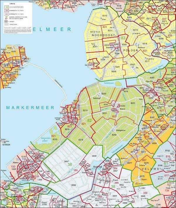 Postcodekaart Flevoland 1:100.000