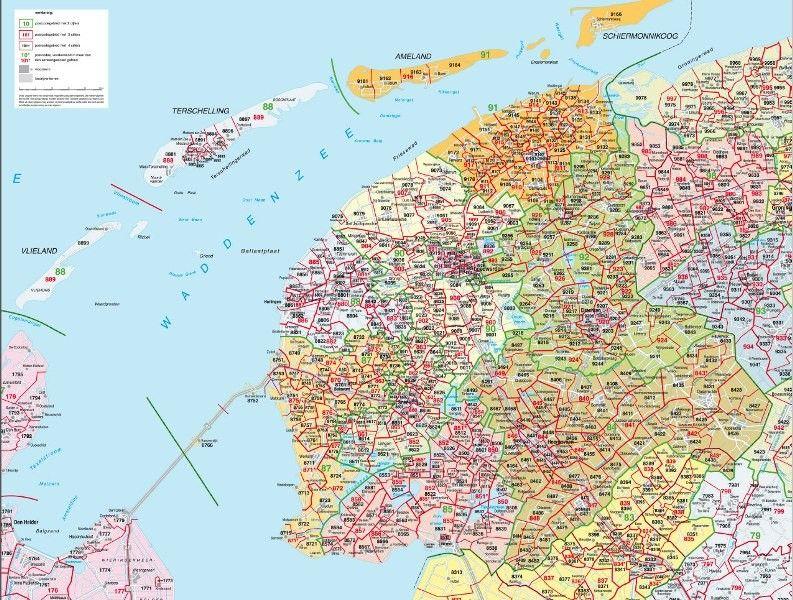 Postcodekaart Friesland 1:100.000