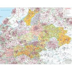 Postcodekaart Gelderland 1:100.000