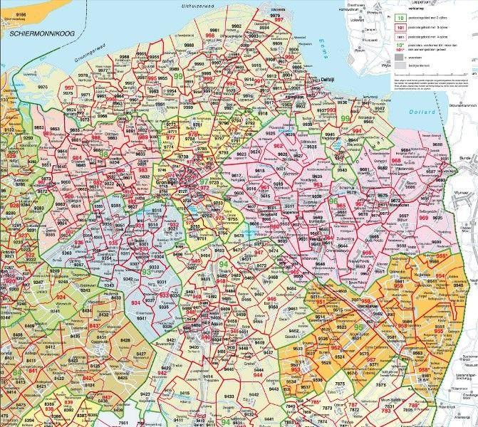 Postcodekaart Groningen 1:100.000