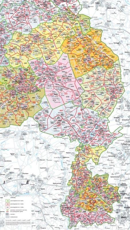 Postcodekaart Limburg 1:100.000