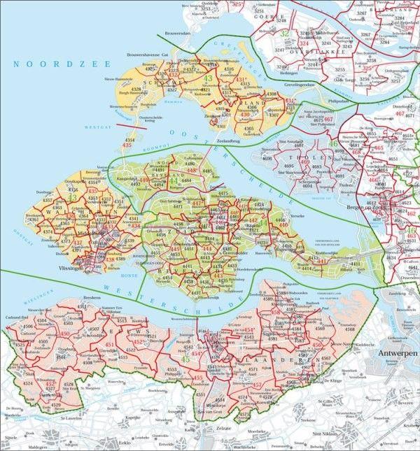 Postcodekaart Zeeland 1:100.000