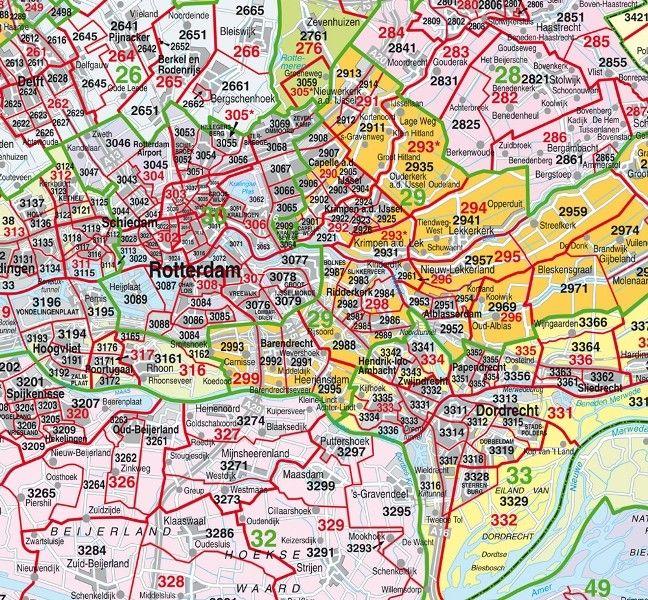 Postcodekaart Zuid-Holland 1:100.000