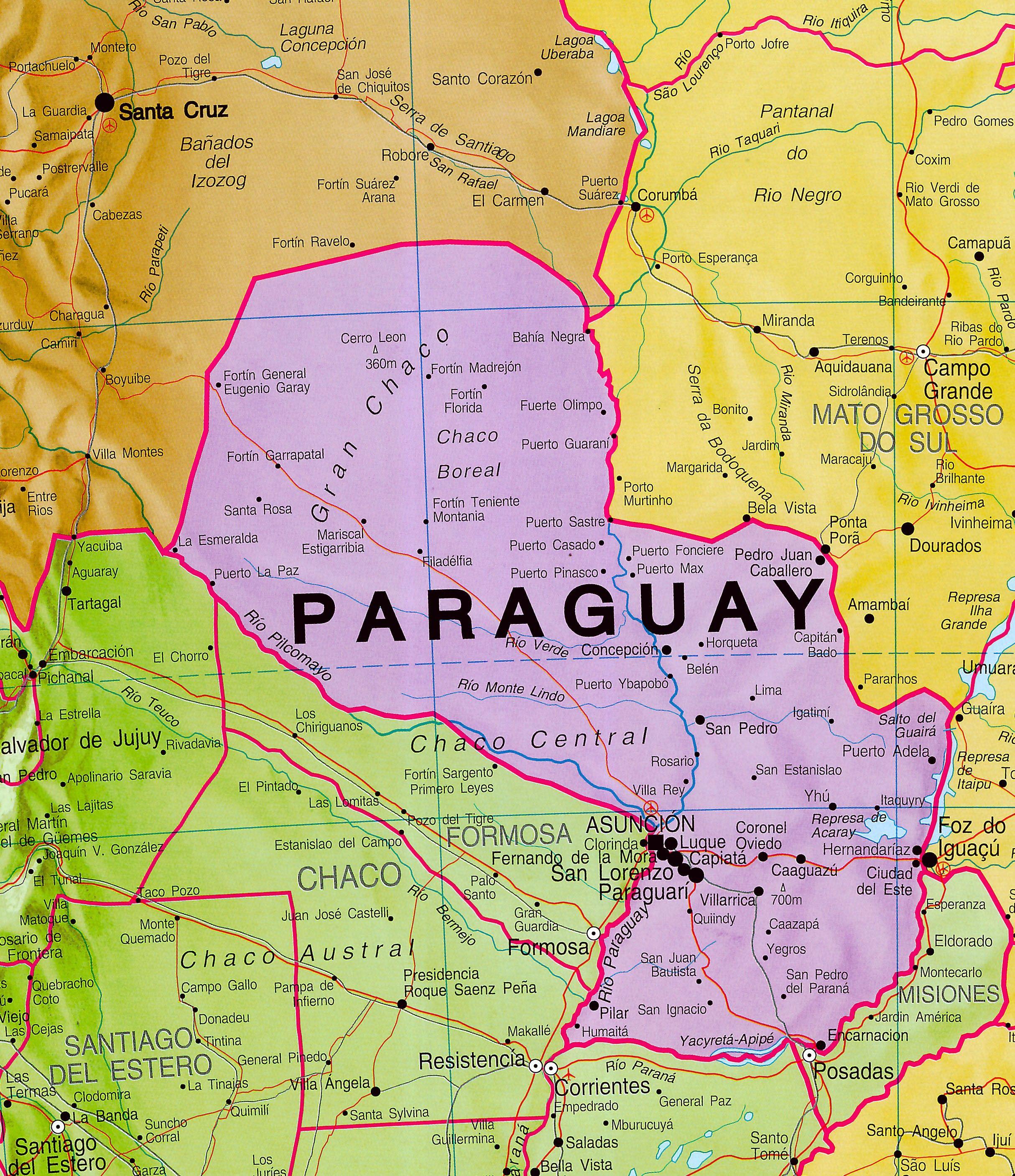 Continentkaart Zuid-Amerika