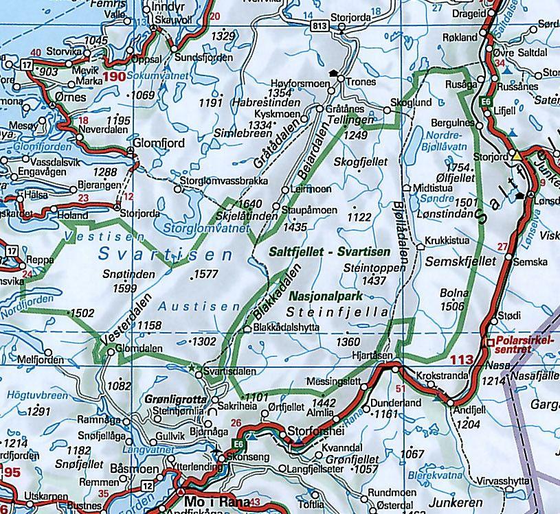 Landkaart Noorwegen