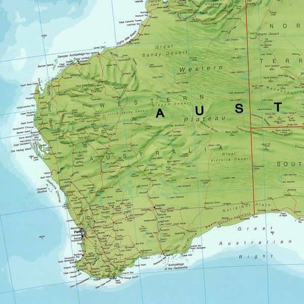 Continentkaart Australië Maps International  1:7.000.000