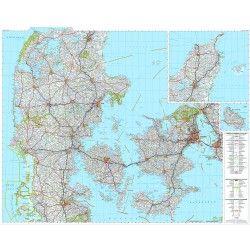 Landkaart Denemarken 1:300.000 met plaatsnamenindex