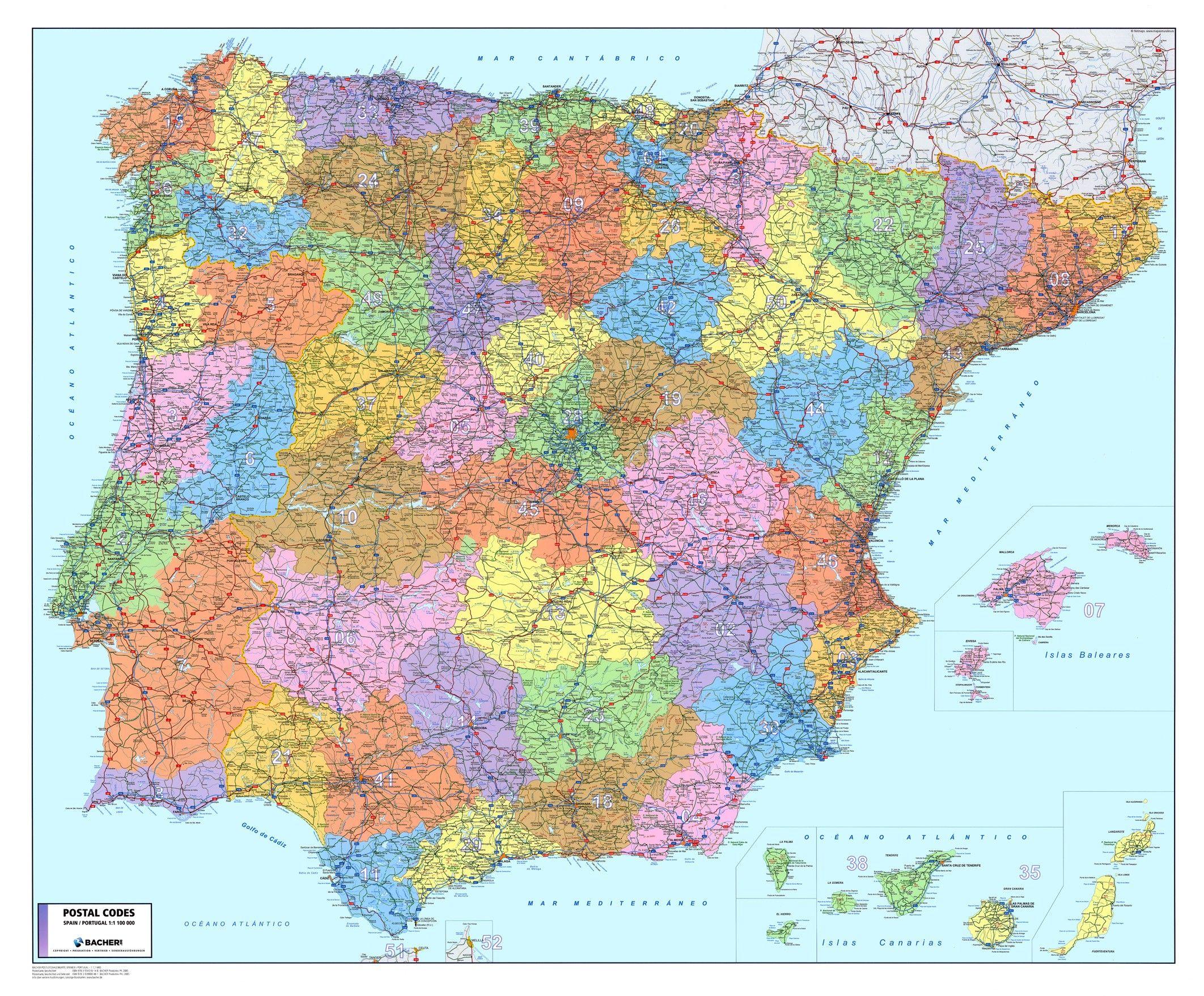 Postcodekaart Spanje / Portugal