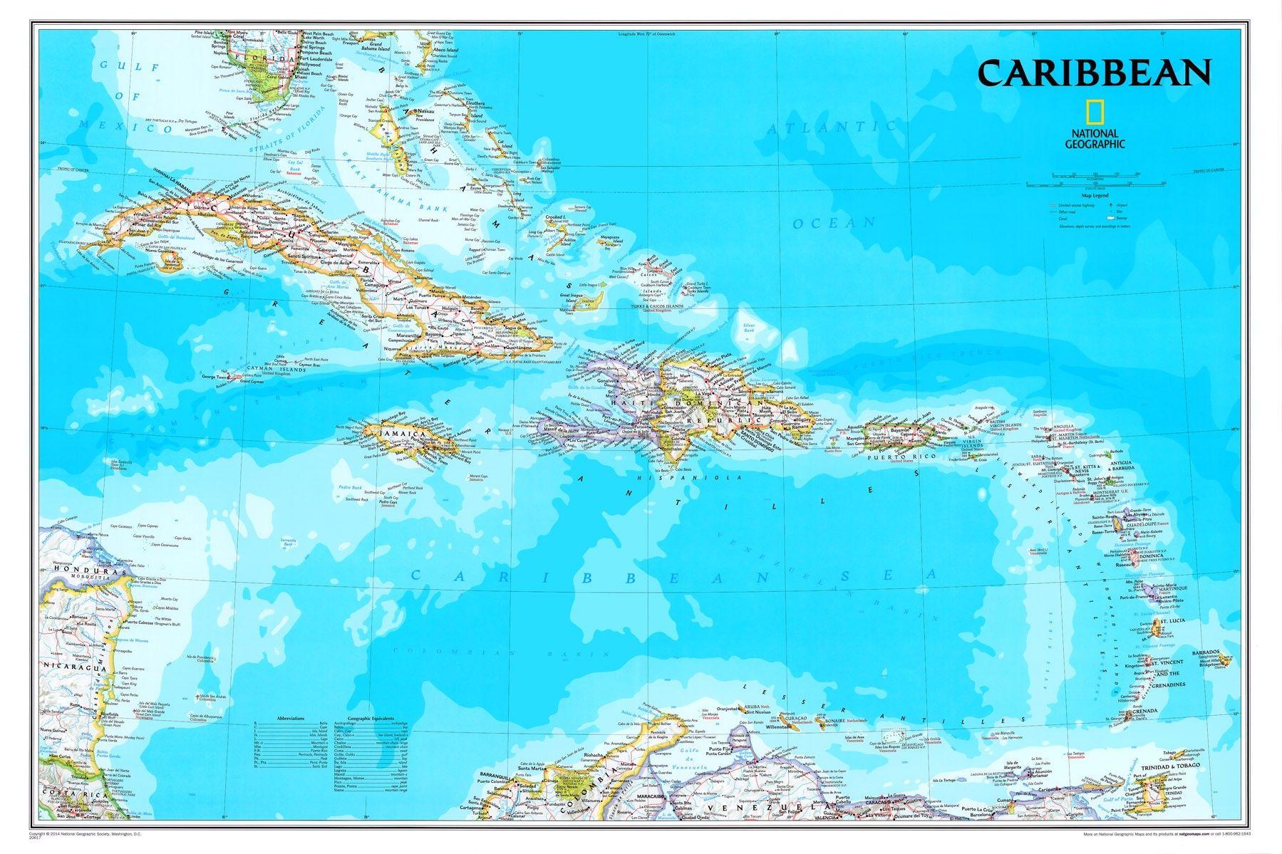 Landkaart Caribbean