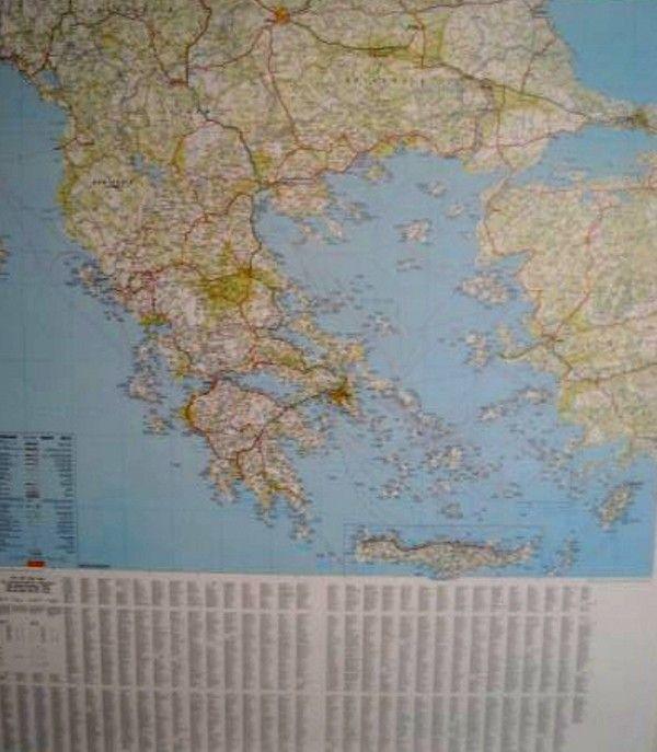 Landkaart Griekenland met plaatsnamenindex