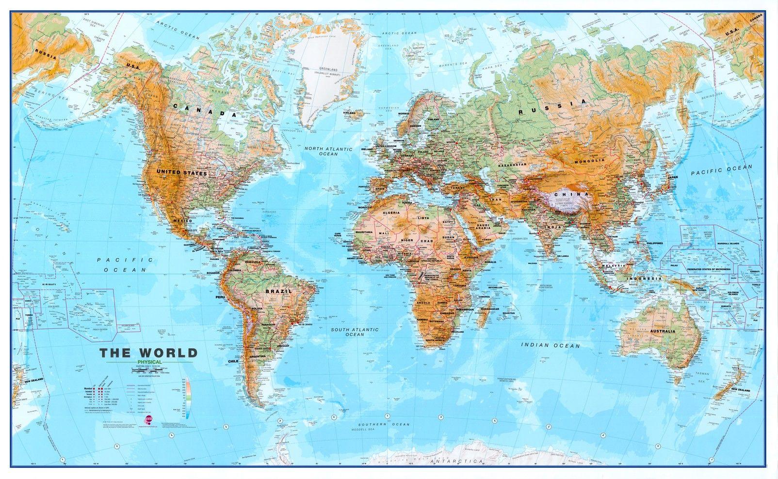 Foto Poster koop wereldkaart f natuurkundig 1 30 000 000 voordelig bij commee