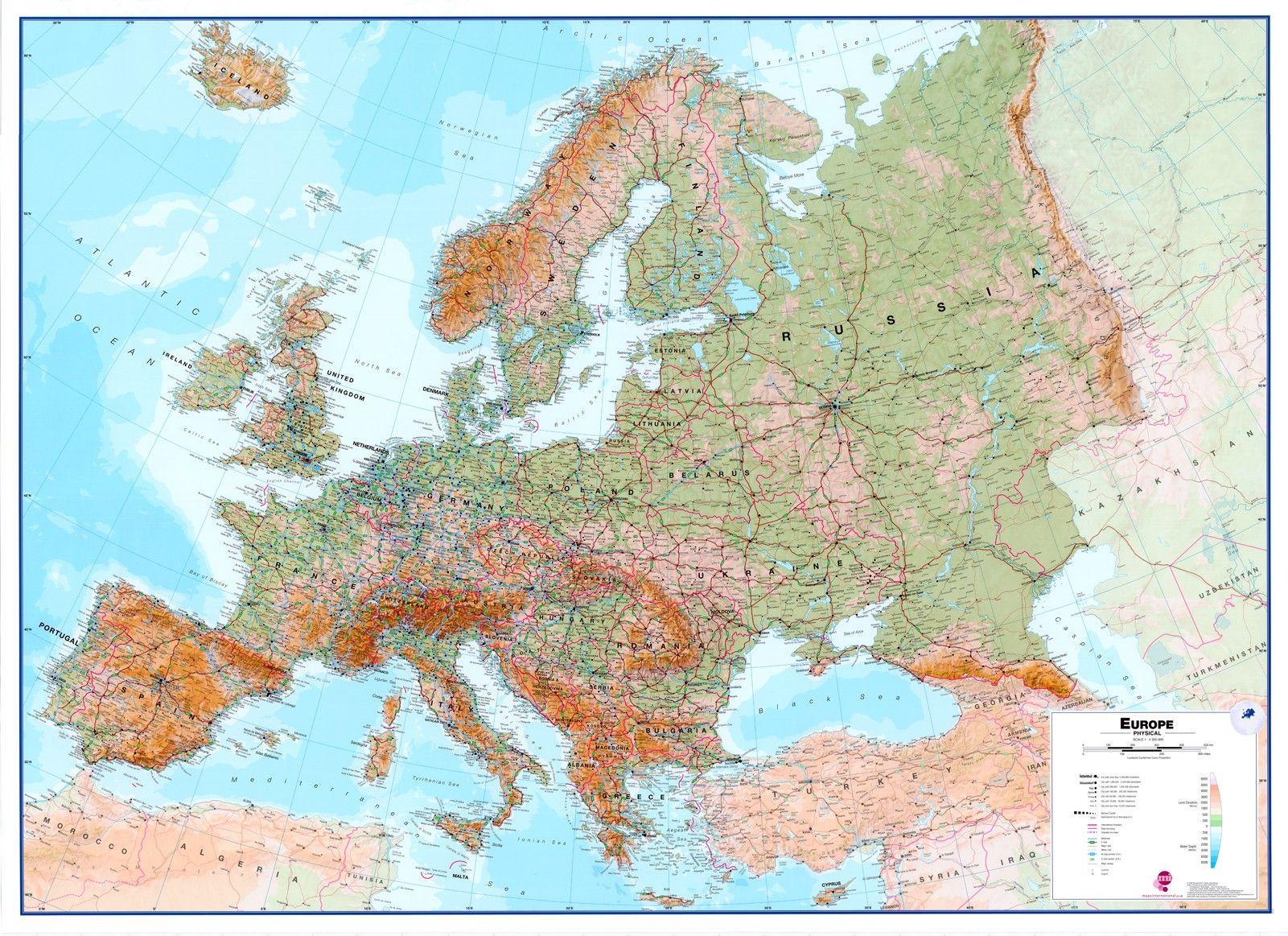 Europakaart A Natuurkundig