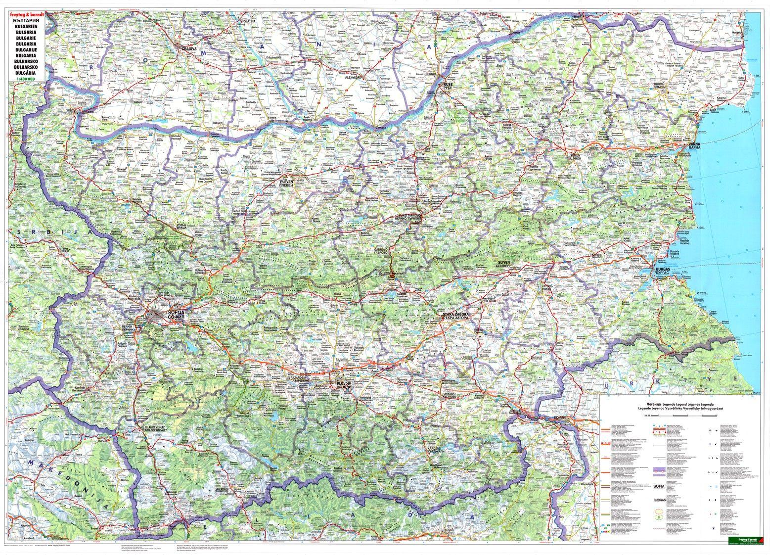 Landkaart Bulgarije