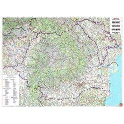 Landkaart Roemenie 1:700.000 met plaatsnamenindex