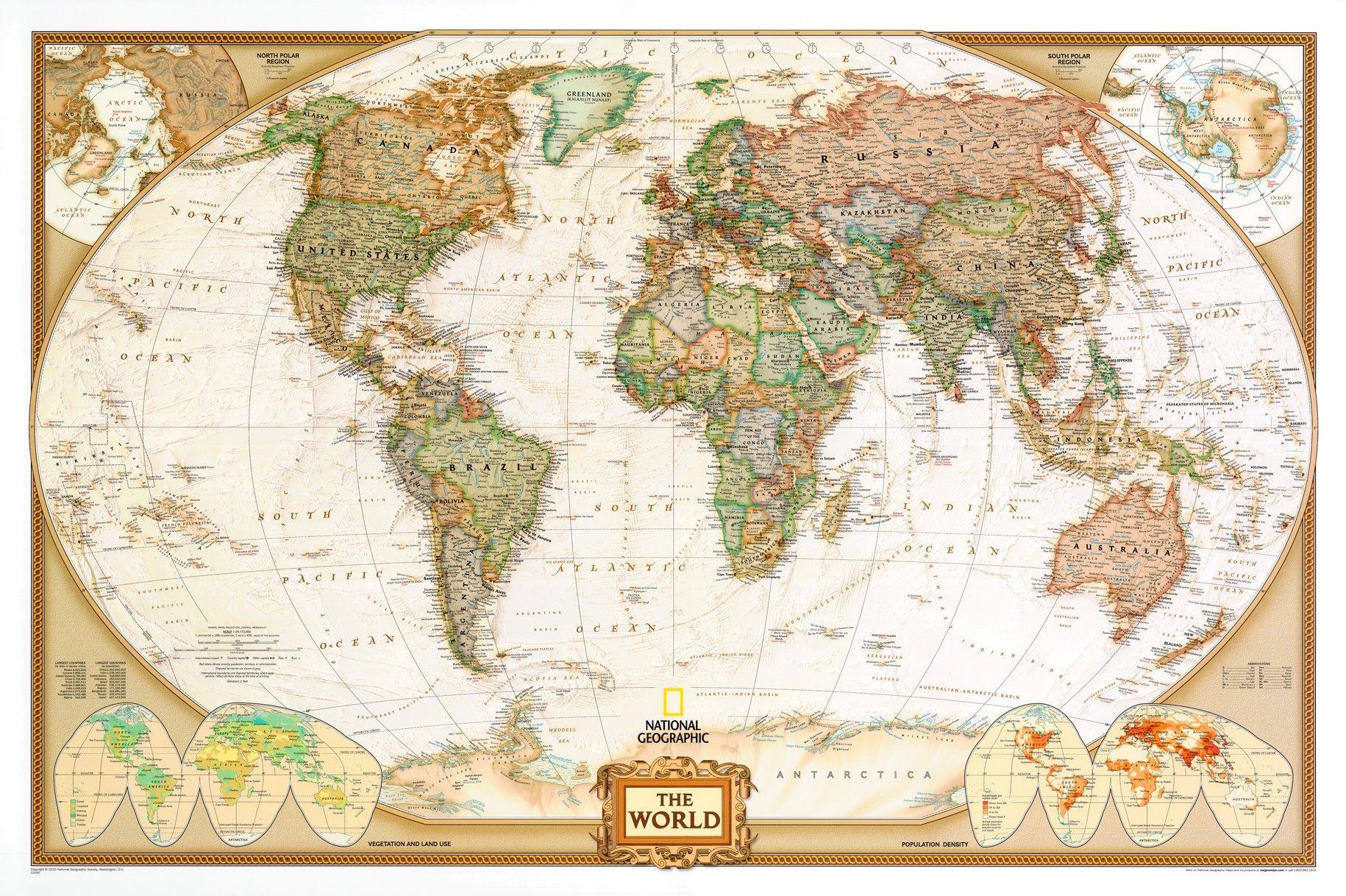 Wereldkaart F Antiek