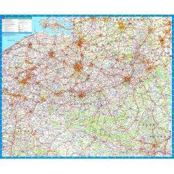 Landkaart Belgie Falk 1:250.000 met plaatsnamenindex