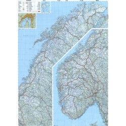 Landkaart Noorwegen 1:800.000 met plaatsnamenindex
