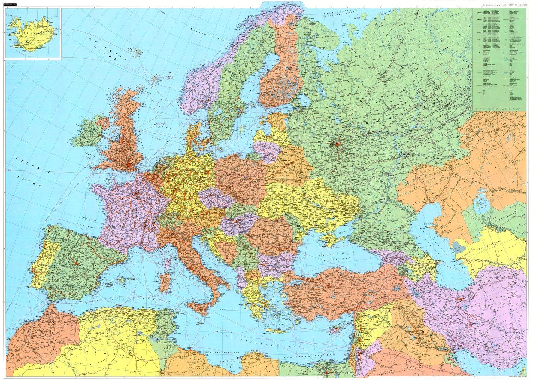 Europakaart met lucht en zeehavens