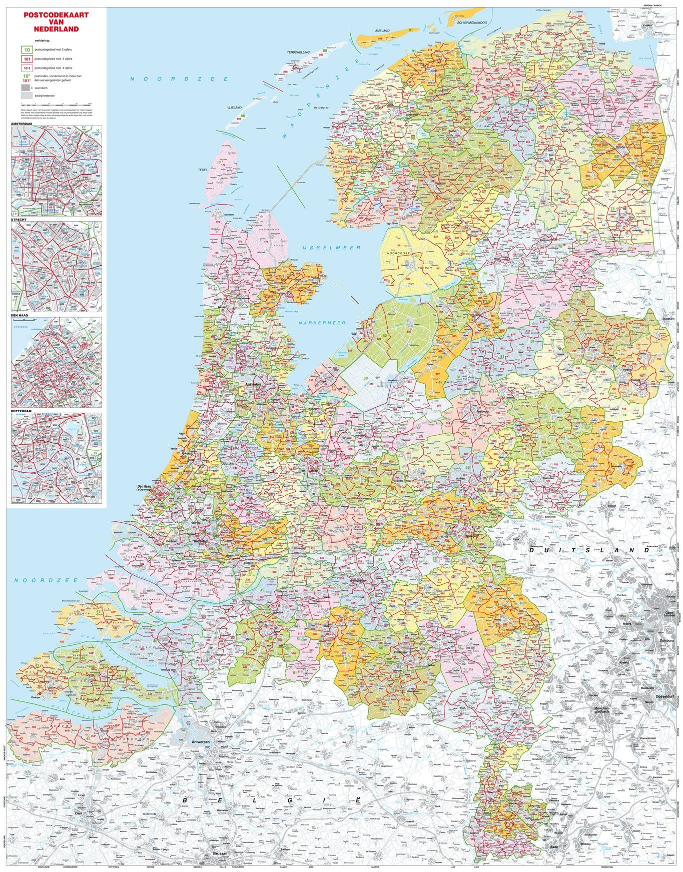Digitale Postcodekaart van Nederland 3 cijferig 1:250.000 400dpi