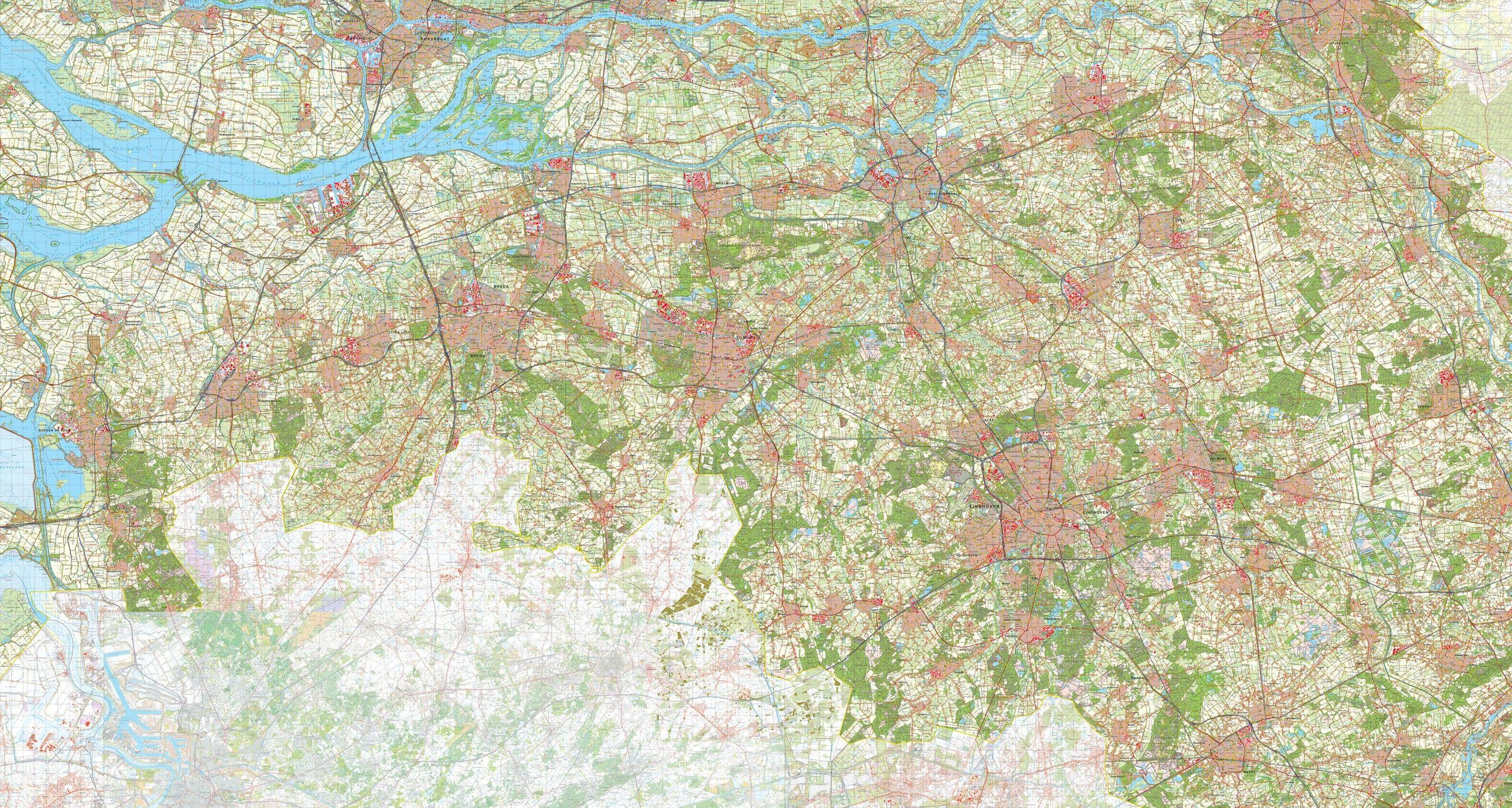 Digitale Provinciekaart Noord Brabant 1:50.000