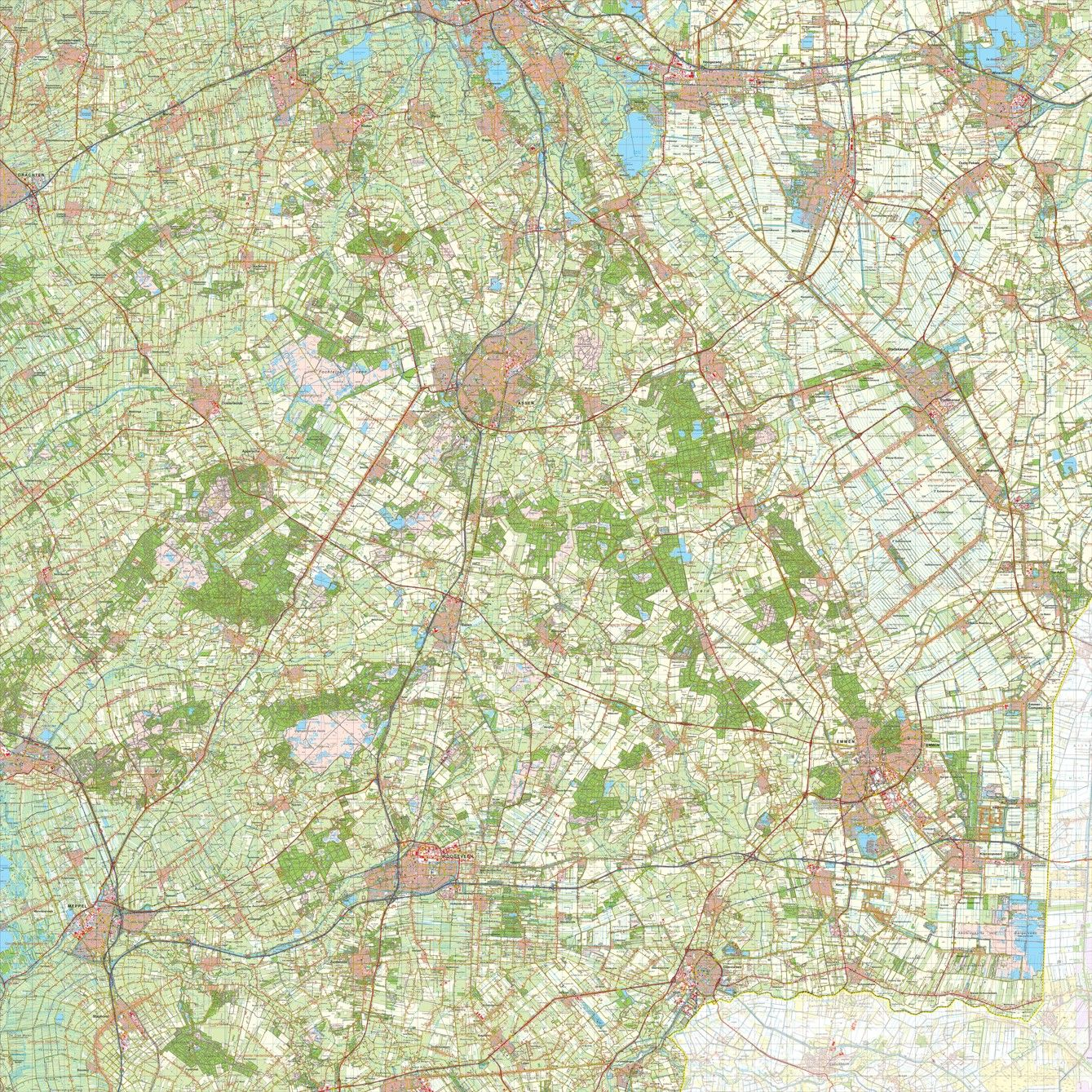 Digitale Provinciekaart Drenthe 1:50.000
