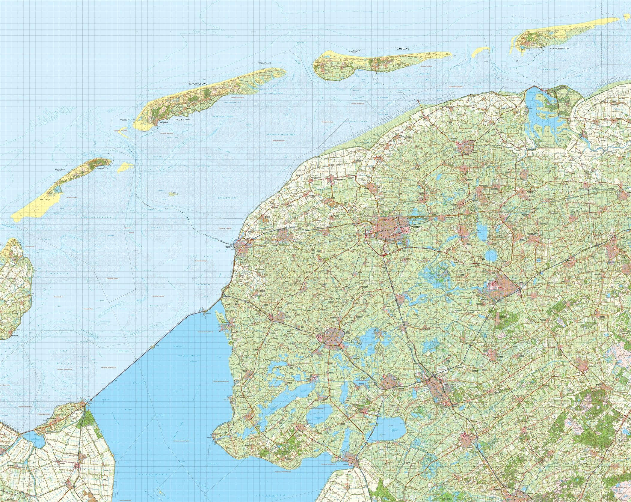 Digitale Provinciekaart Friesland 1:50.000