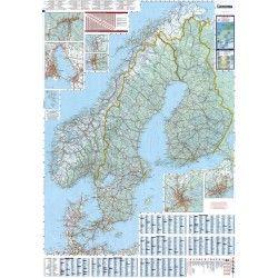 Landkaart Scandinavie 1:1.500.000 met plaatsnamenindex