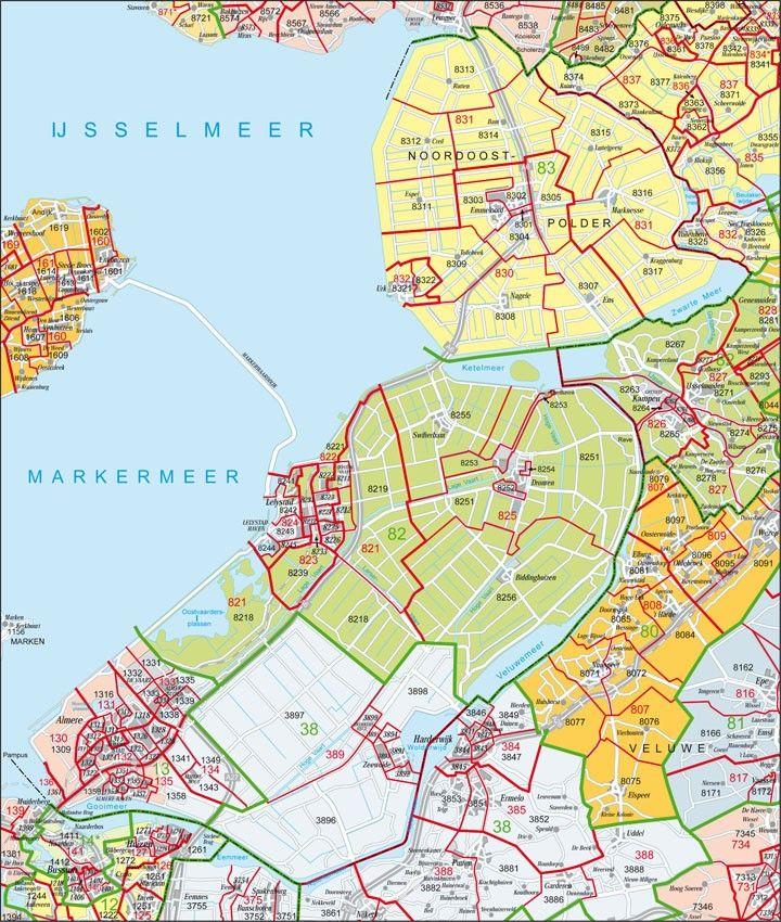 Digitale Postcodekaart Provincie Flevoland 1:100.000
