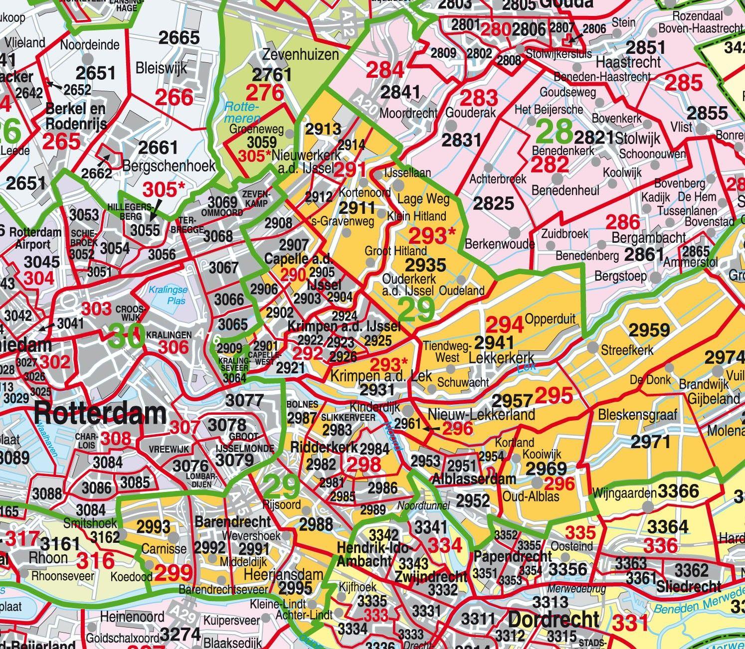 Digitale Postcodekaart Provincie Zuid Holland 1:100.000
