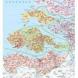Digitale Postcodekaart Provincie Zeeland 1:100.000