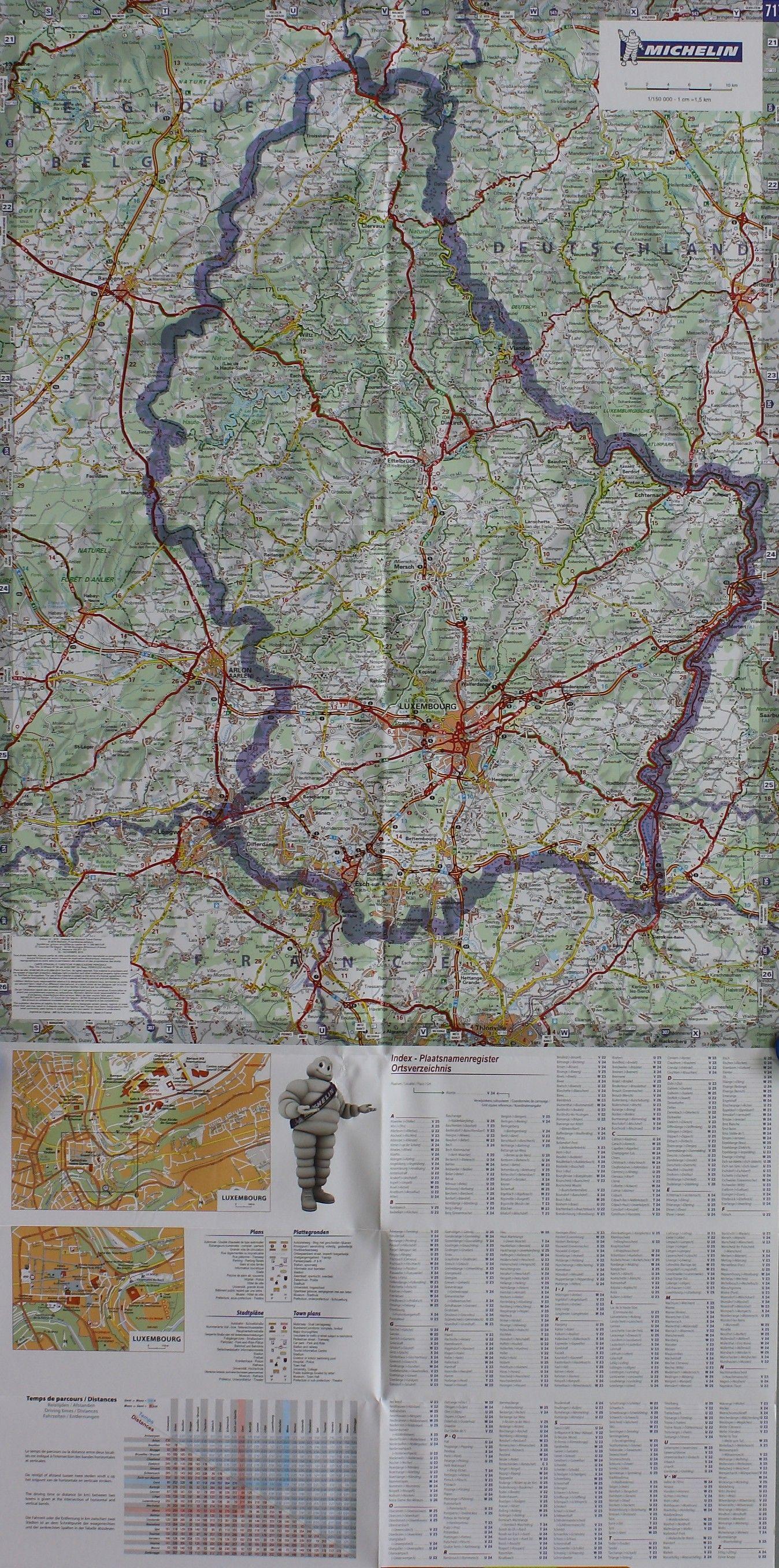 Landkaart Luxemburg
