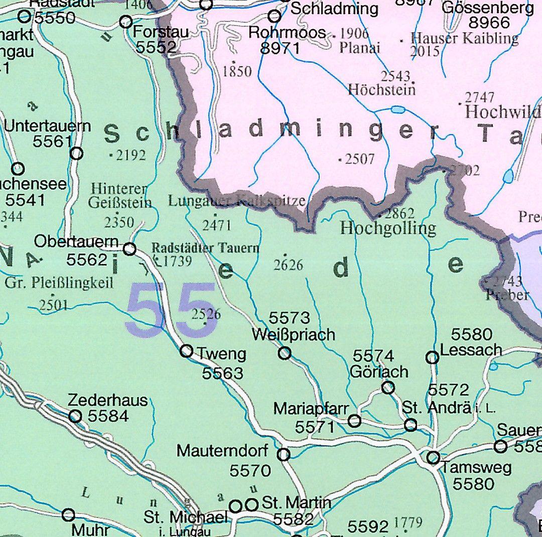Postcodekaart Oostenrijk 1:500.000