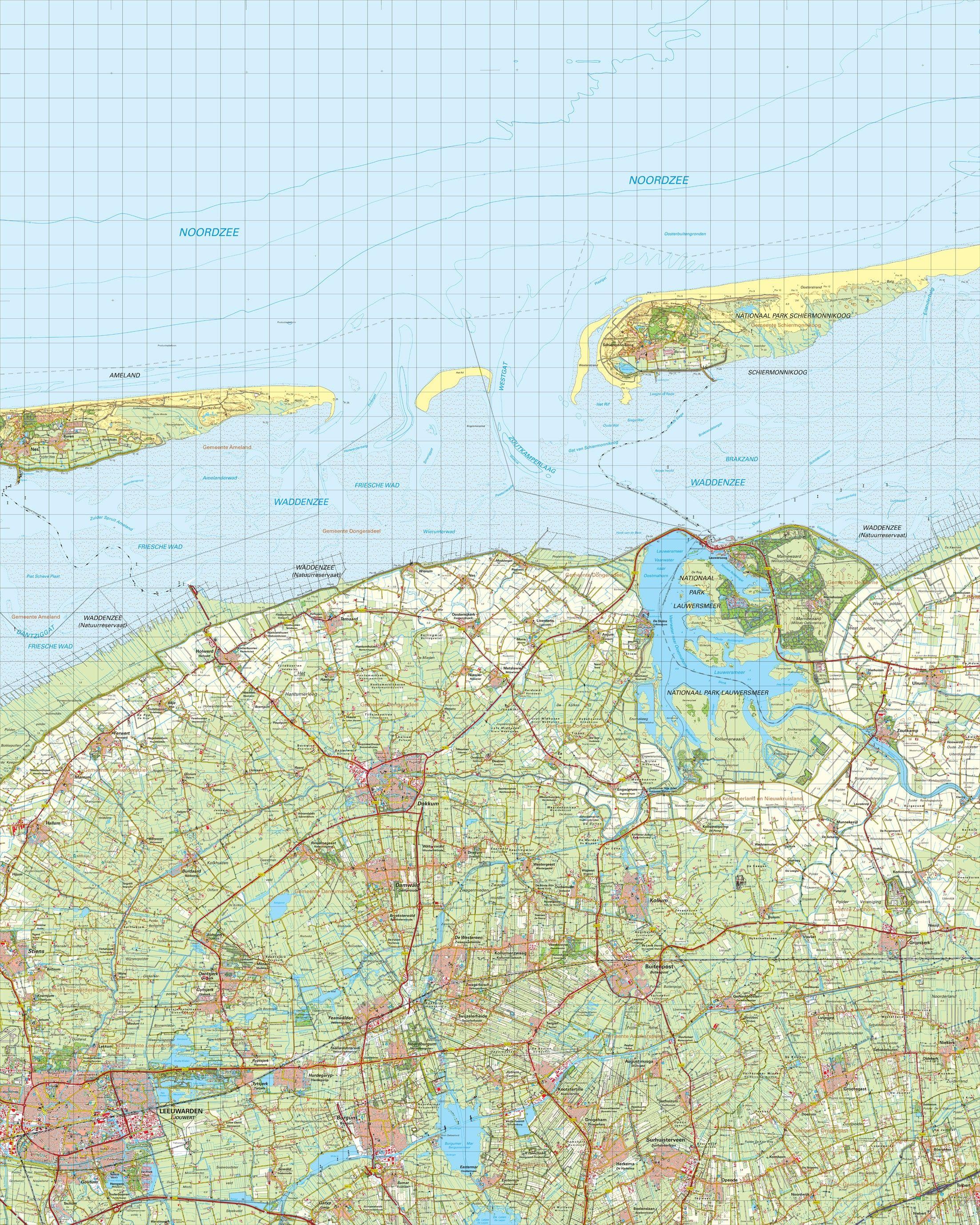 Topografische kaart schaal 1:50.000 (Ameland,Schiermonnikoog,Dokkum,Leeuwarden)