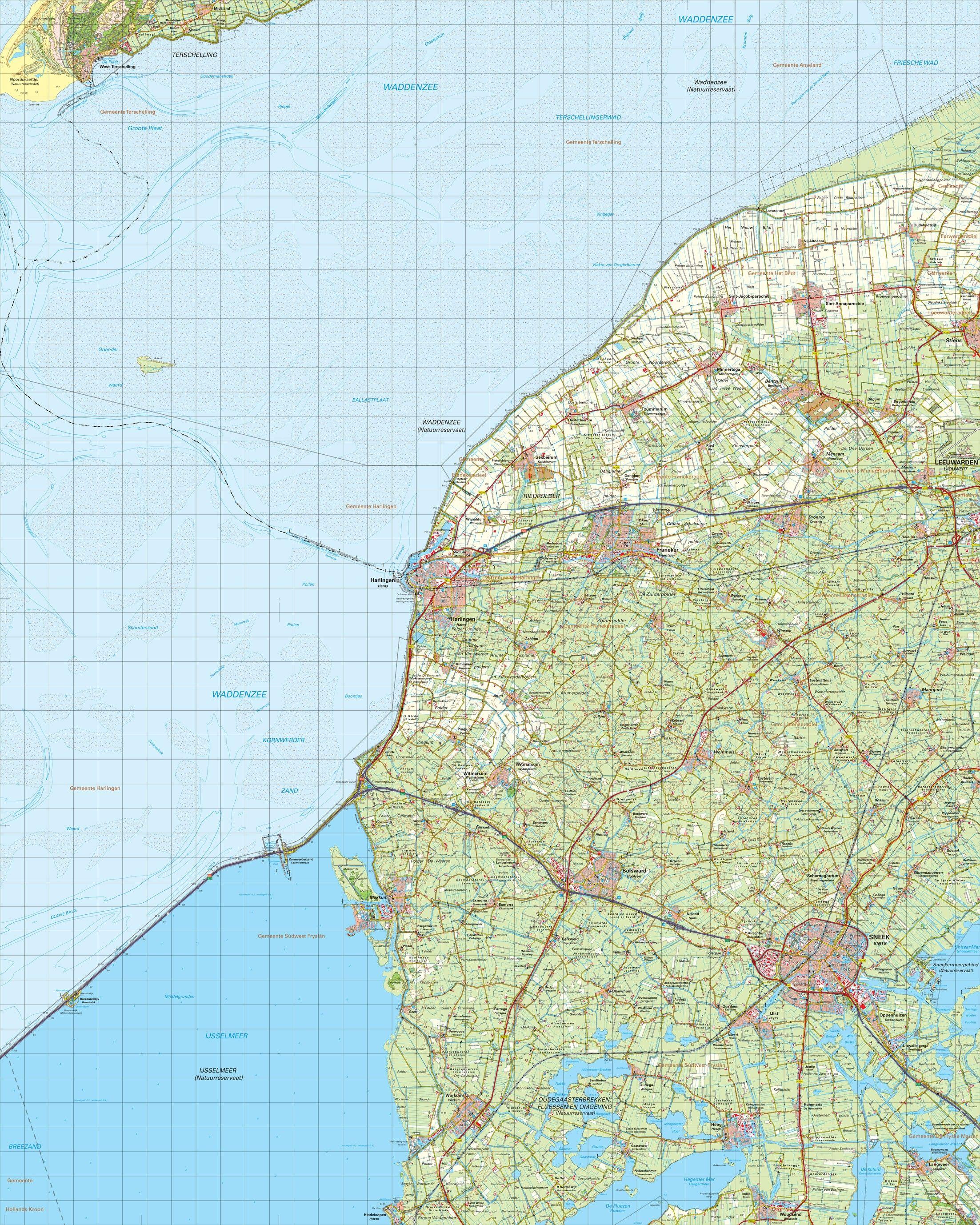 Topografische kaart schaal 1:50.000 (Harlingen, Bolsward, Sneek)