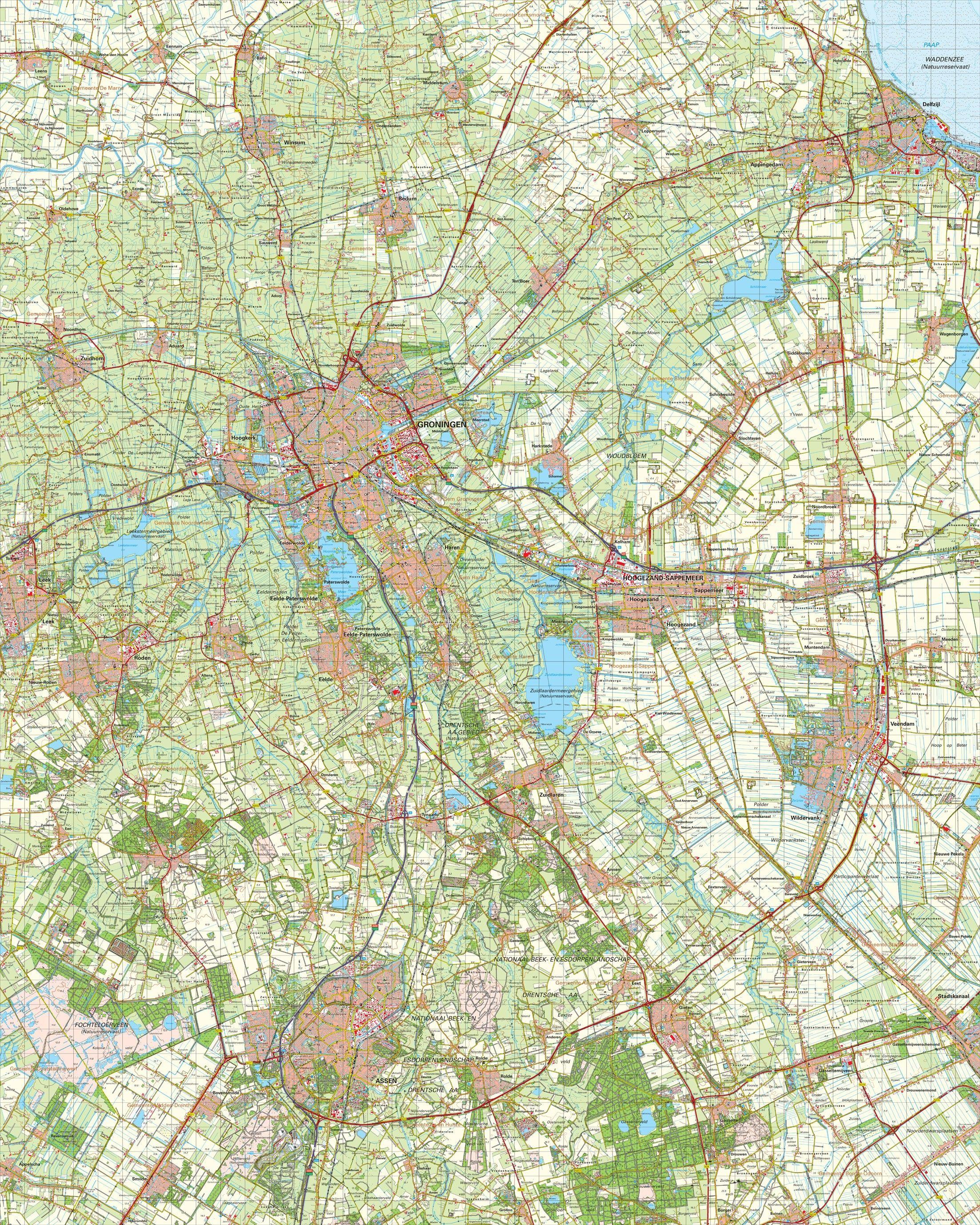 Topografische kaart schaal 1:50.000 (Groningen,Veendam,Assen)