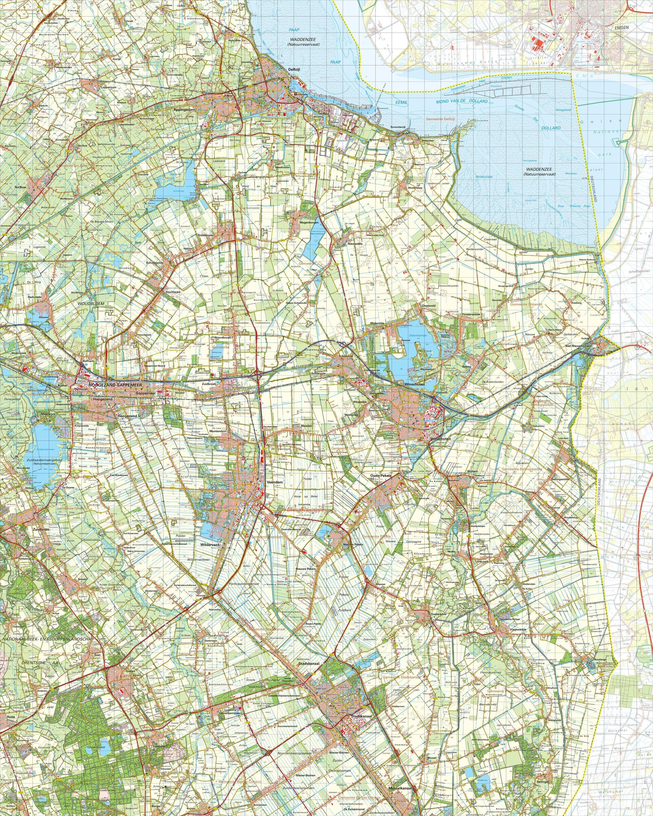 Topografische kart schaal 1:50.000 (Delfzijl,Winschoten,Stadskanaal)