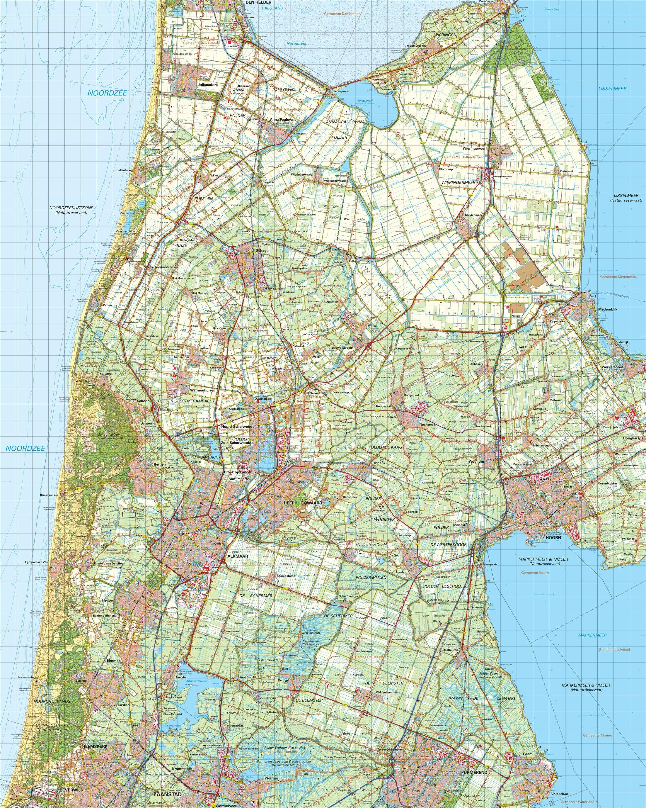 Topografische kaart schaal 1:50.000 (Alkmaar,Schagen,Hoorn,Heerhugowaard)
