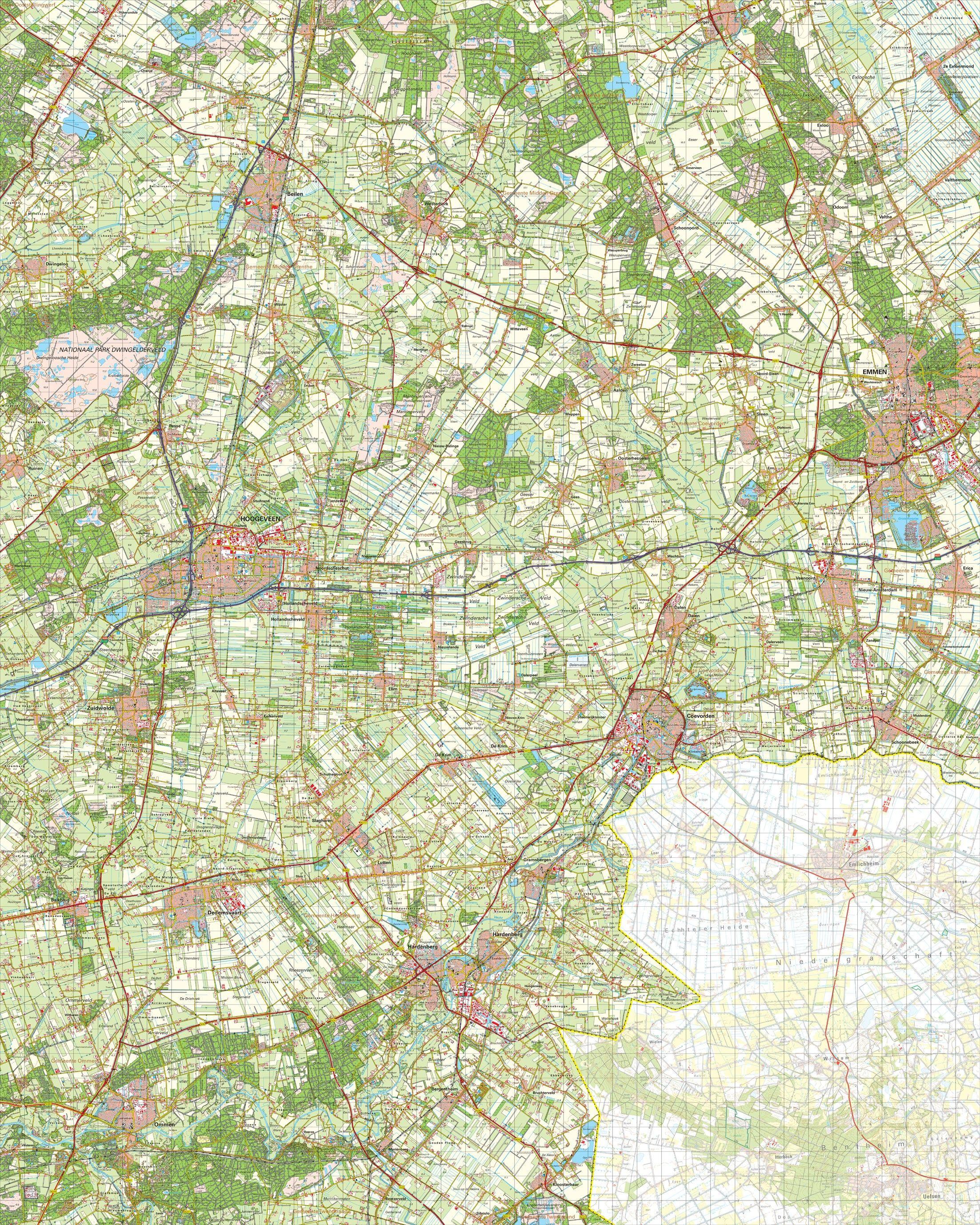 Topografische kaart schaal 1:50.000 (Hoogeveen,Emmen,Coevorden,Ommen)