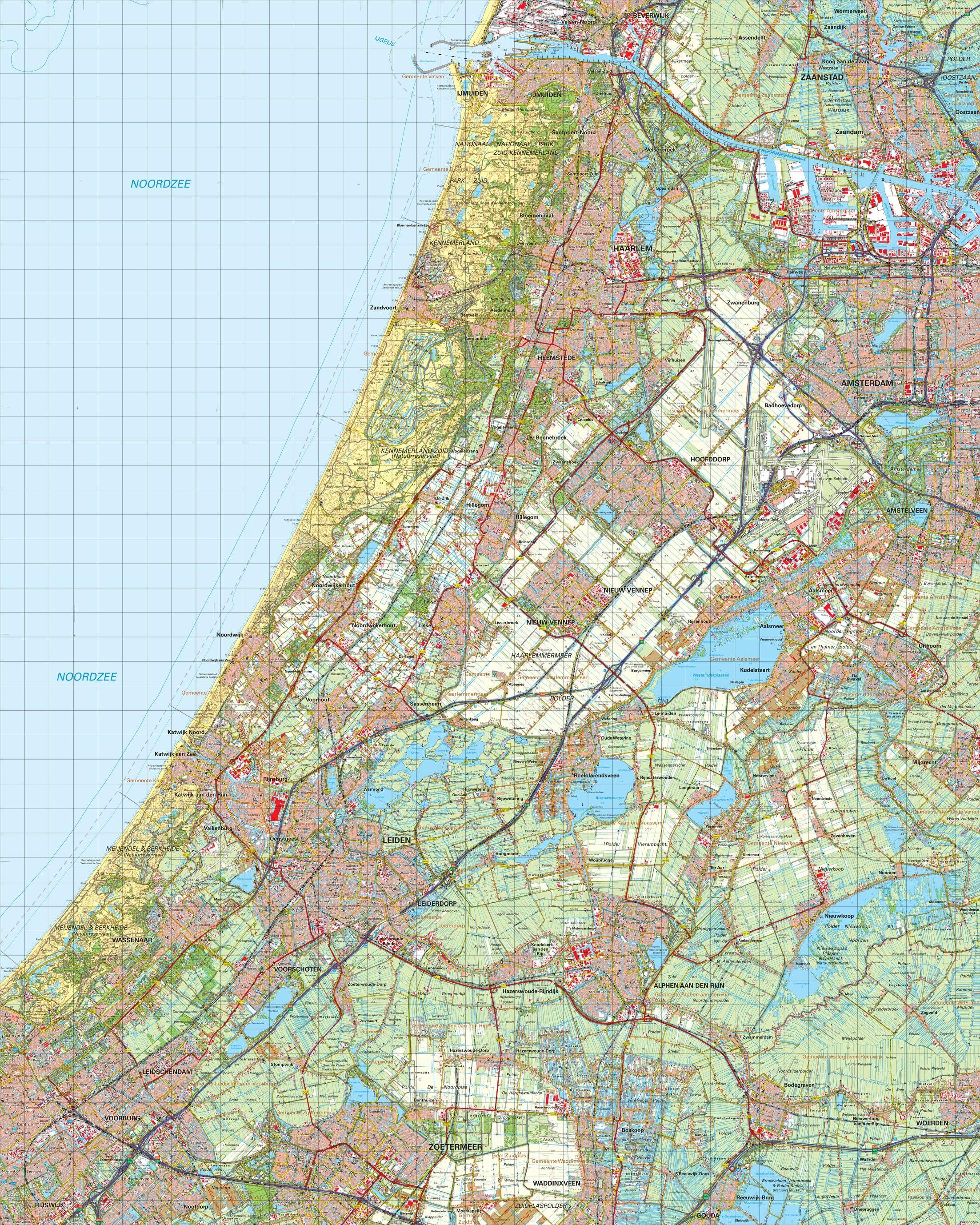 Topografische kaart schaal 1:50.000 (Haarlem,Amsterdam,Hoofddorp,Leiden,Alphen aan den Rijn