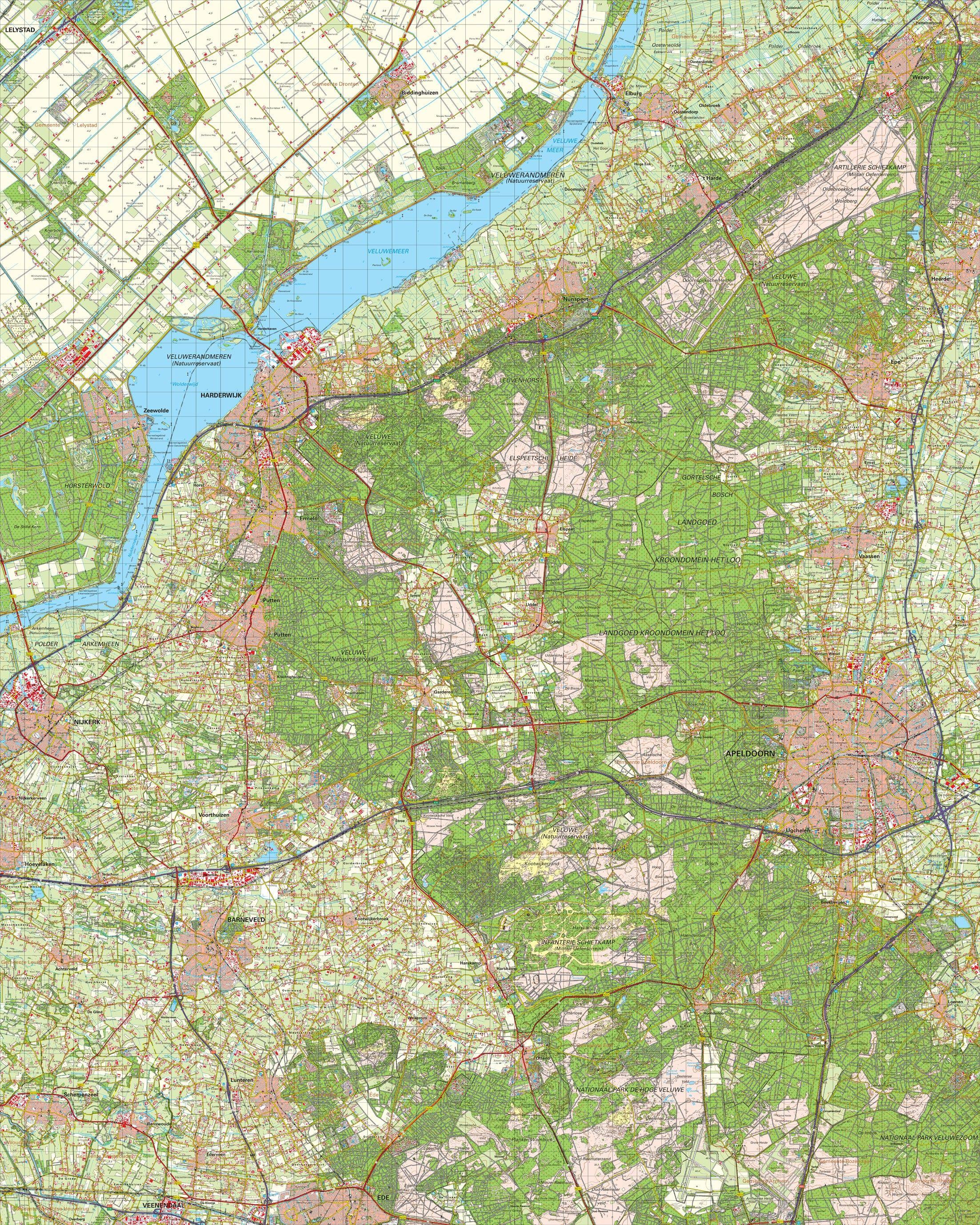 Topografische kaart schaal 1:50.000 (Harderwijk,Apeldoorn,Elburg,Barneveld)