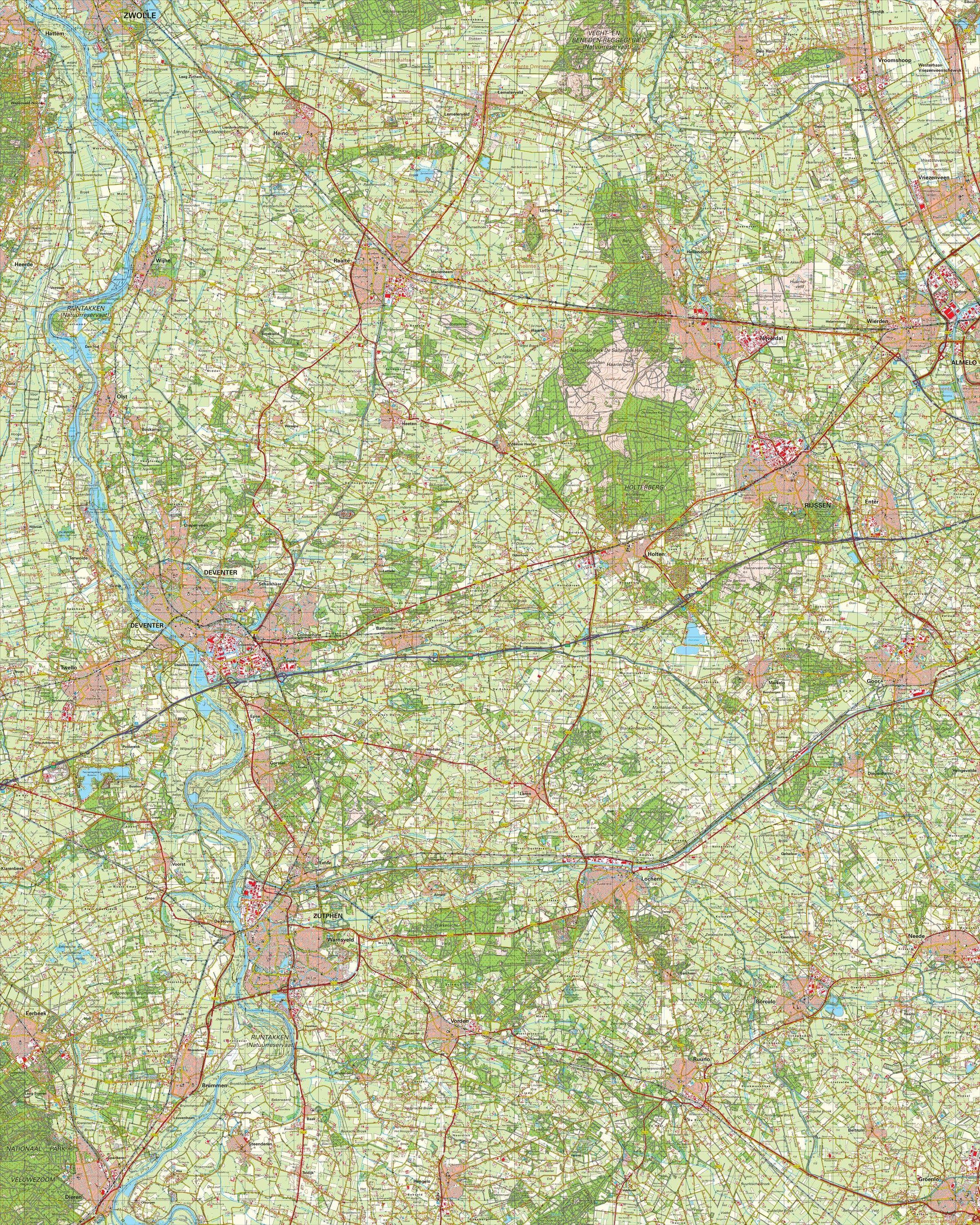Topografische kaart schaal 1:50.000 (Raalte,Rijssen,Almelo,Zutphen,Deventer)
