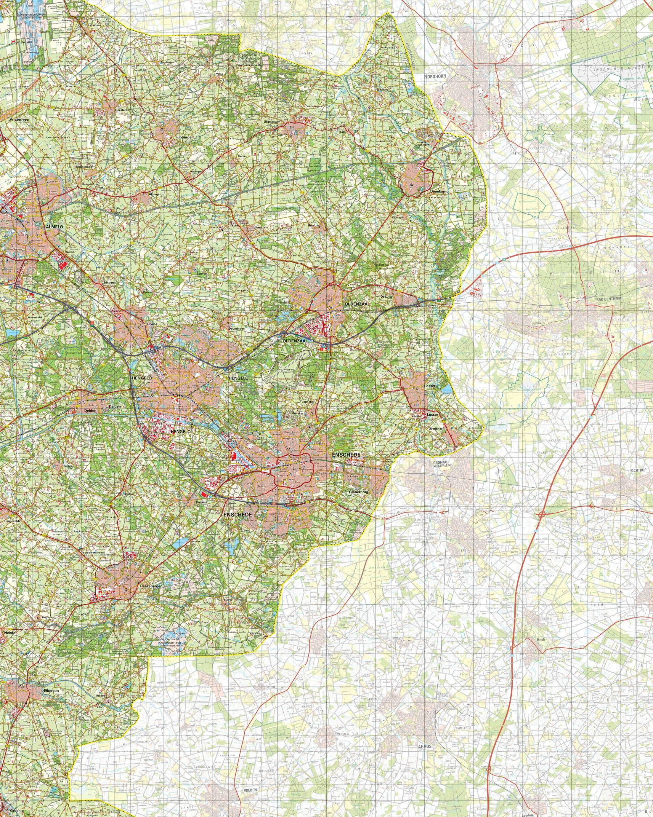 Topografische kaart schaal 1:50.000 (Almelo,Oldenzaal,Hengelo,Enschede,Haaksbergen)