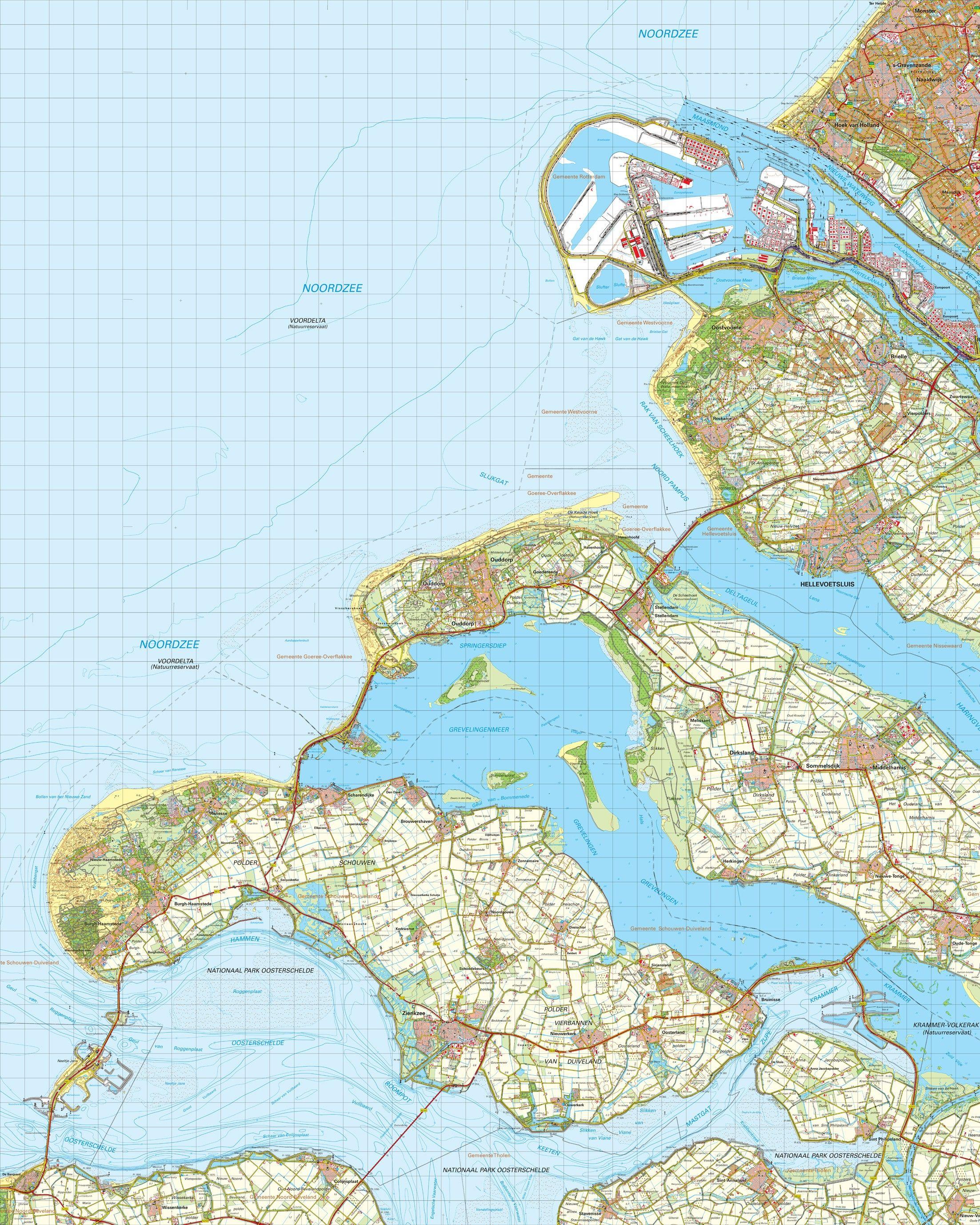 Topografische kaart schaal 1:50.000 (Hoek van Holland ,Brielle ,Hellevoetsluis, Zierikzee)