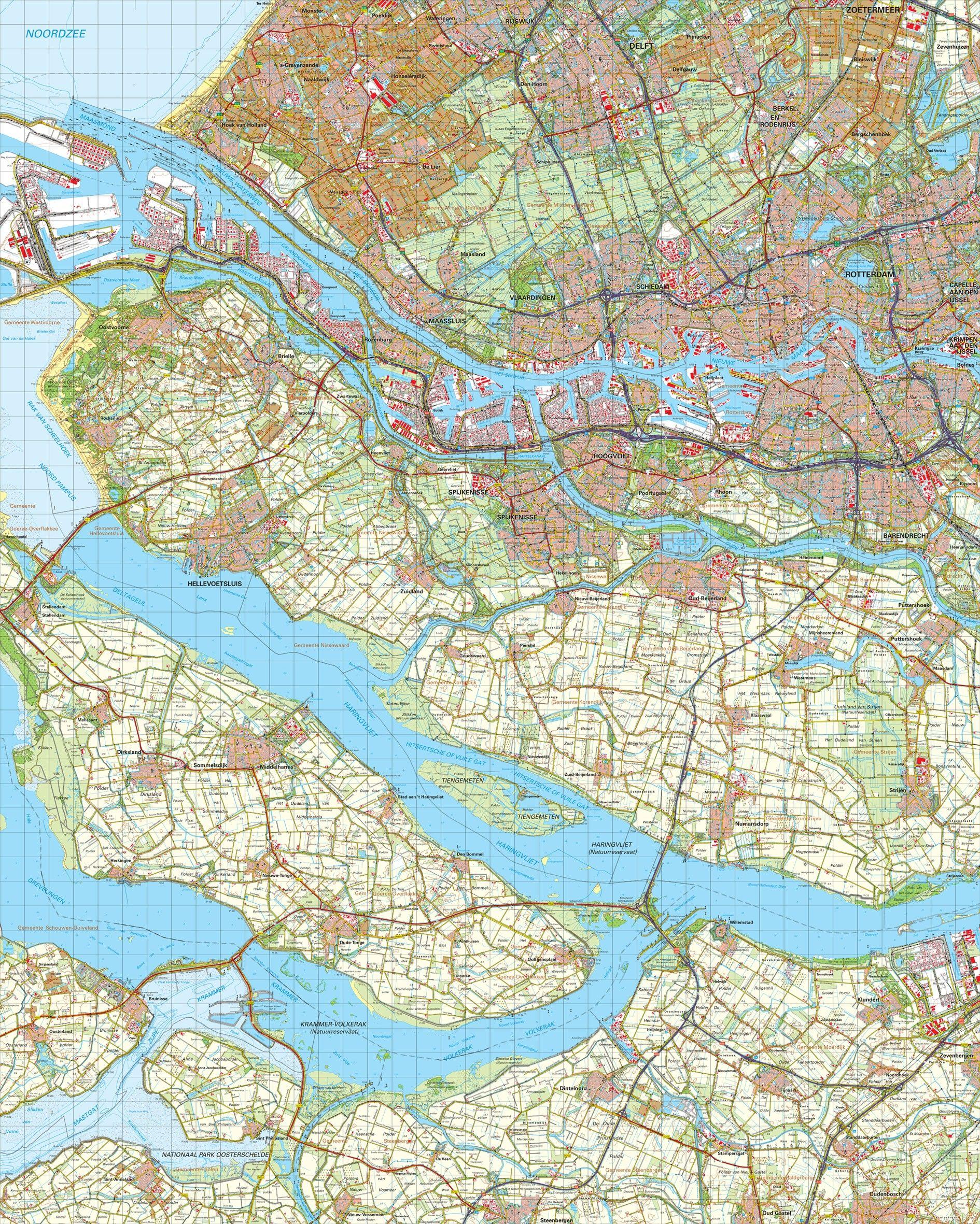 Topografische kaart schaal 1:50.000 (Rotterdam,Schiedam,Spijkenisse,Oud-Beijerland)