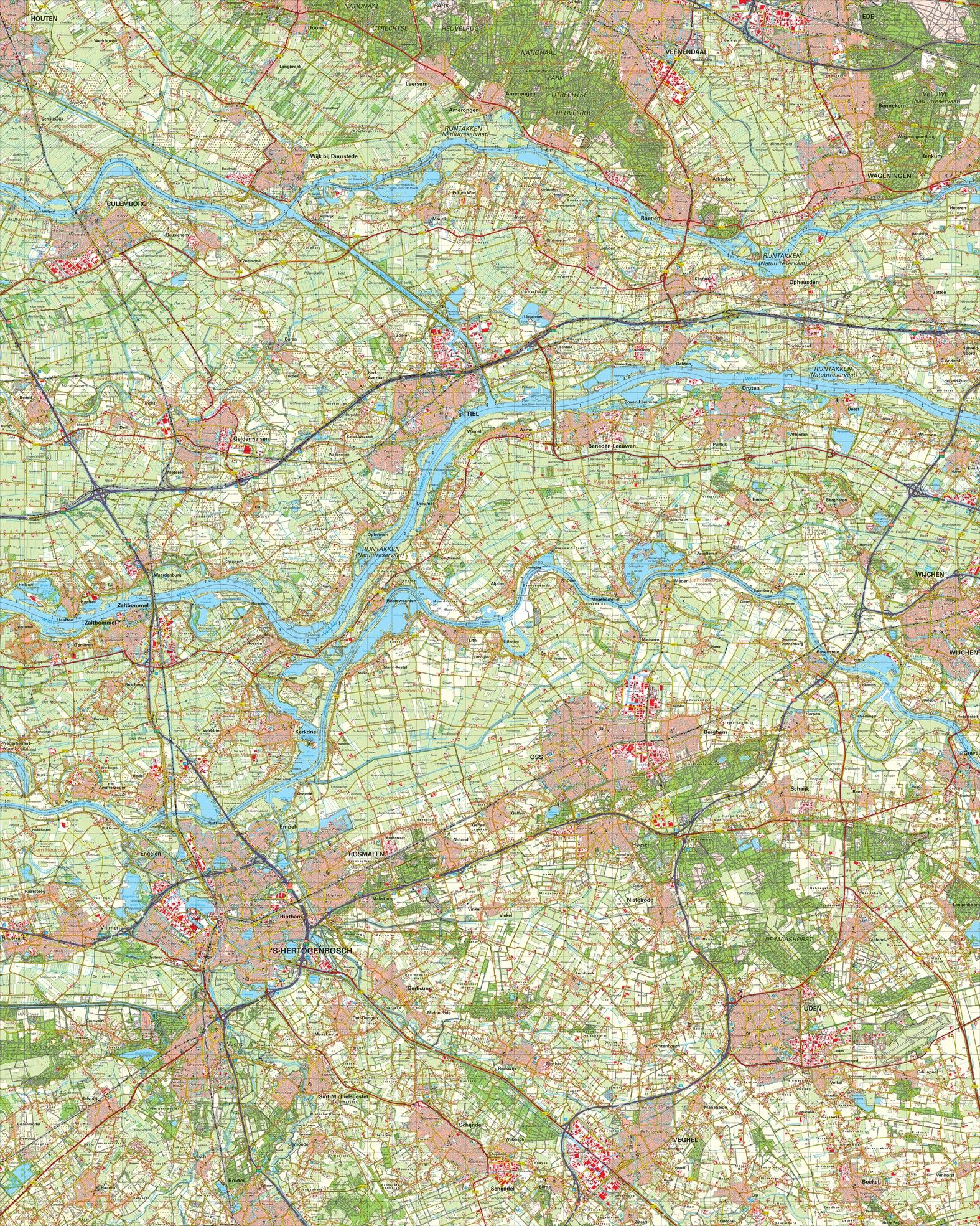Topografische kaart schaal 1:50.000 (Culemborg,Tiel,Oss,'s-Hertogenbosch,Uden)